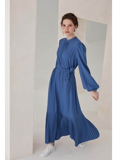 Vivencia Belden Bağlamalı Plise Detaylı Kadın Elbise Indigo İndigo